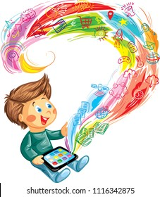 Boy holding a tablet in his hands and playing it on internet, enchanted by the variety of ways he can use it.