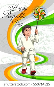 Boy holding tricolor Indian flag for Happy Republic Day of India. Vector illustration
