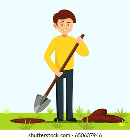 boy holds a shovel. farmer digs a hole for planting.gardener digs a hole in the ground vector illustration isolated from background Man digs a hole in the ground for planting trees