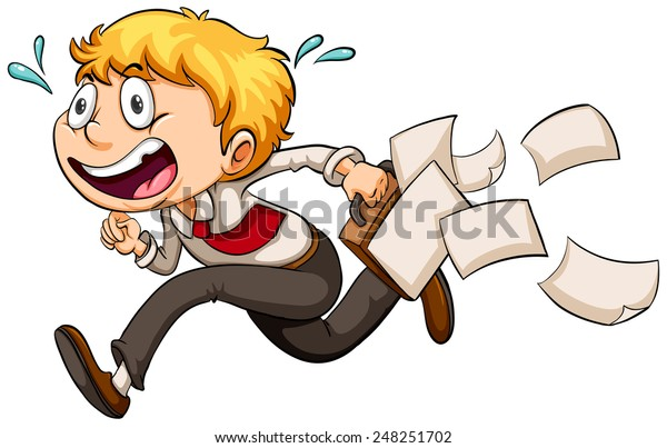 A boy in a hurry on a white background