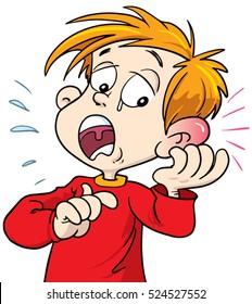 Boy hurting his ear illustration