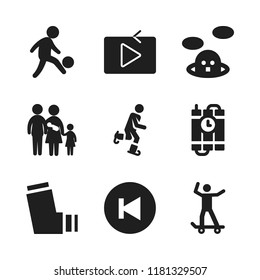 boy icon. 9 boy vector icons set. man silhouette playing soccer, dynamite and ice skate icons for web and design about boy theme