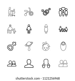 Boy icon. collection of 16 boy outline icons such as baby mitten, man, man and woman, family, male and female, female, baby girl. editable boy icons for web and mobile.