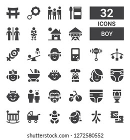 boy icon set. Collection of 32 filled boy icons included Rug, Characters, Woman, Baby, Pushchair, Crib, Toilet, Diaper, Tricycle, Man, Child, Nerd, Baby girl, Baby carriage, Cot