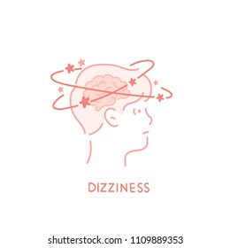 Boy icon showing dizzy symptoms. hand drawn style vector doodle design illustrations.
