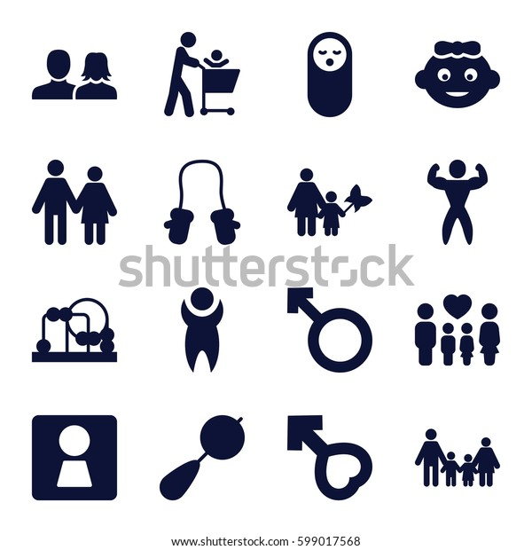 boy icons set. Set of 16 boy filled icons such as woman WC, baby girl, beanbag, baby food, man and woman, family, woman, male, bodybuilder, man, couple, mother and son