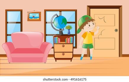 Boy inside the room knocking on door illustration