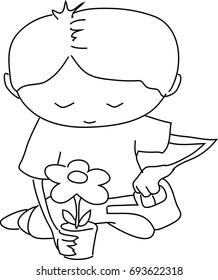 Boy irrigating flower - lineart