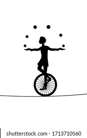 boy juggler, he juggles balls with unicycle on  the rope, circus silhouette, shadow story, vector