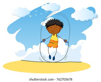 Boy jumping rope at day time illustration