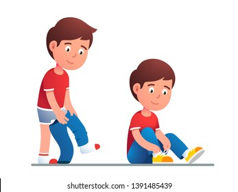 Boy kid dressing up or changing pants. Child put up clothes by himself. Guy lacing his shoes. Children undressing and dressing confidently. Flat vector character illustration