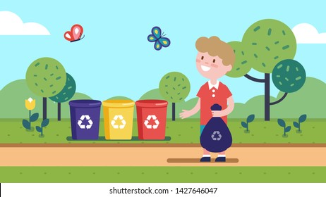 Boy kid hold sack & taking out litter, garbage to different colored separation recycle bins outdoor. Child cartoon character sorting waste. Separate waste collection. Flat vector illustration