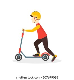 Boy Kid Rides on a Scooter. Flat Design Style. Vector illustration of sport concept, little riding in the city. Child outdoor activity fun
