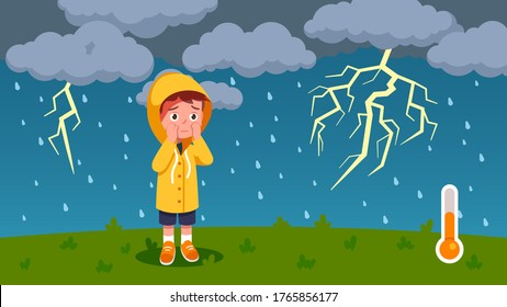 Boy kid scared of thunder, lightning walking outdoors on rainy thunderstorm day with dark clouds. Worried child wearing raincoat. Summer season weather temperature. Flat vector illustration