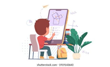 Estudiante niño que resuelve problemas de geometría en gran pantalla de teléfono celular estudiando en línea. Aprender o hacer pruebas en el escritorio del hogar. Ilustración vectorial plana del concepto de educación a distancia