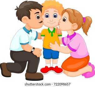 the boy kissed his father and mother cartoon with happiness