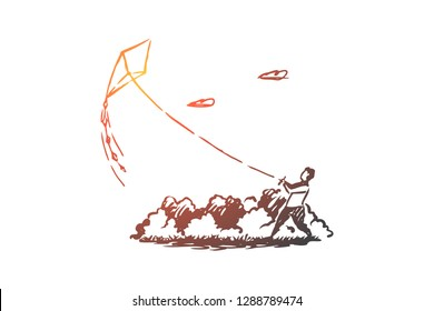 Boy, kite, park, sky, happy concept. Hand drawn little boy runs kite in the park concept sketch. Isolated vector illustration.
