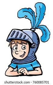 boy with a knight's helmet