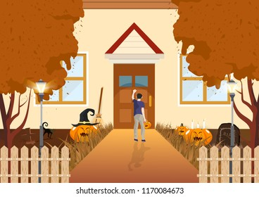 Boy knocking on the doors flat design autumn concept, trick or treat, pumpkin, cat and graveyard in night abstract background vector illustration
