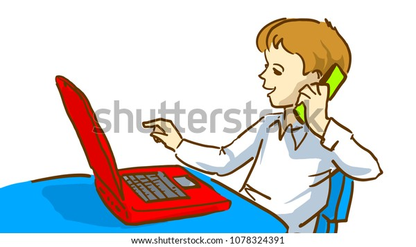 Boy Laptop Computer Talking On Mobile Stock Vector (Royalty