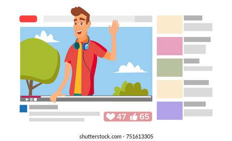 Boy Leading Online Stream Channel. Online Internet Streaming Video Concept. Cartoon Flat Illustration