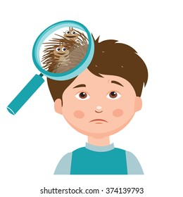 Boy With Lice Vector. Magnifying Glass Close Up Of A Head Vector Illustration. Dirty Head.