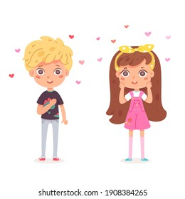 Boy likes girl, children in love. Happy cute kids smiling. Little beautiful cartoon characters in romance. Romantic couple vector illustration. Sweet girl in dress and school kid with hearts.
