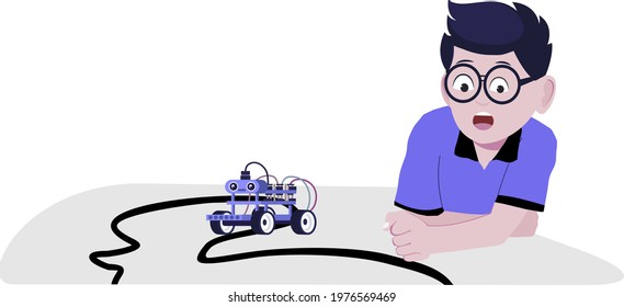 A boy with line following robot, flat design illustration. robotics, robot, maker space, tinkering lab, STEM Lab, happy kid play with the robot, tinker  kid, tinkering kit