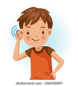 Boy listening.  Positive emotions, smiling. Cartoon character vector illustration isolated on white background.