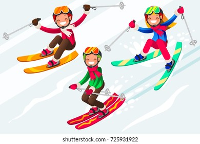 Boy little skiing. Skis in snow skiing people. Winter sports at kids holidays. Parents and children skiers enjoying snow landscape. Vector illustration in a flat style