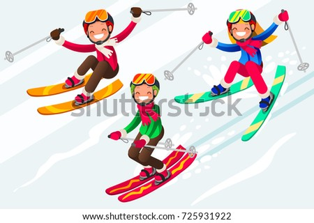 38b8201d3c2c Boy Little Skiing Skis Snow Skiing Stock Vector (Royalty Free ...