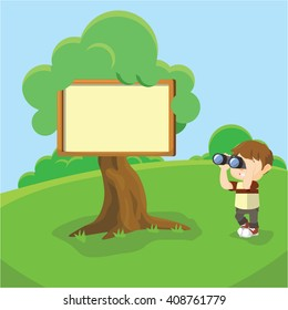 Boy looking with binocular to Blank sign at tree