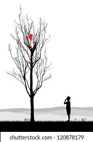 A boy looking at kite stuck in a dead tree, conceptual