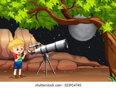Boy looking through telescope at night illustration