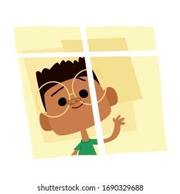 Boy looking through window at home, coronavirus. Vector illustration for kids. Pandemic. Covid19. Flat design.