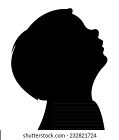 a boy looking up, silhouette vector