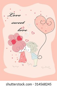 boy loves the girl,vector illustration