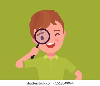 Boy with magnifying glass. Schoolboy looking through hand lens, searching focus, data or information, scientific research, safe kids internet browsing and study. Vector flat style cartoon illustration