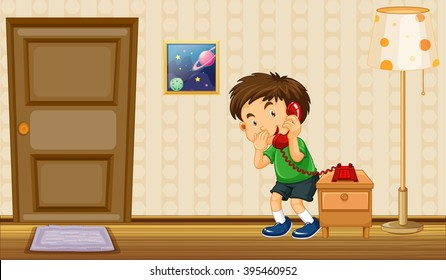 Boy making phone call at home illustration