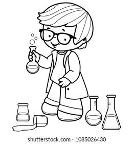Boy making science experiments. Vector black and white coloring page