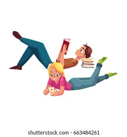 Boy, man reading book and woman playing with smartphone, using mobile phone, lying on her stomach, cartoon vector illustration isolated on white background. Man and woman reading book