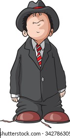 Boy in Man's clothes Cartoon of a young boy dressed up in a Mans suit. Vector file available.