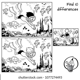 A boy with mask and flippers diving underwater in the ocean with marine inhabitants. Find 10 differences. Educational game for children. Black and white cartoon vector illustration