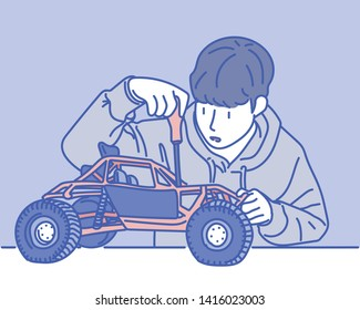 A boy with a mechanical hobby is repairing the RC car. hand drawn style vector design illustrations.