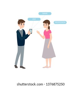 Boy meets girl and shows smartphone personal information