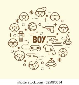 boy minimal thin line icons set, vector illustration design elements