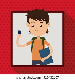 boy with mobile phone student frame dot shadow background