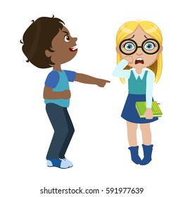 Boy Mocking A Girl, Part Of Bad Kids Behavior And Bullies Series Of Vector Illustrations With Characters Being Rude And Offensive