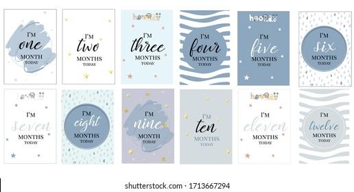 boy month cards milestone invitation baby shower blue grey