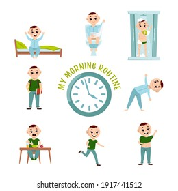 Boy morning routine. Funny character. Every day schedule. Waking up, peeing, taking a shower, making sport, dressing up, eating. Cartoon flat style. Vector illustration isolated on white background